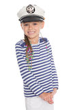 Playful girl in a suit cabin boy Stock Image