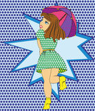 Playful girl with umbrella style pop art. Young woman holding umbrella in the rain Royalty Free Stock Photography