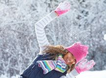 Playful girl in winter Royalty Free Stock Photos
