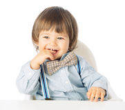 Free Playful Happy Baby Boy Holding Hands In The Mouth Stock Image - 38644401