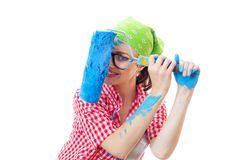Playful happy woman painter with roller Stock Photo
