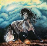 The playful horse beats with a hoof. Horse on a background of clouds. Night, clouds, before storm. Oil on canvas. Beautiful picture. Lovely background stock illustration