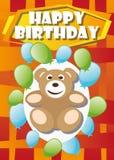 Playful Illustration Birthday Card bear Stock Photo