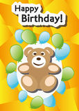 Playful Illustration Birthday Card Teddy balloons Stock Photo