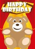 Playful Illustration Birthday Card teddy Stock Photos