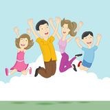 Playful Jumping Family Royalty Free Stock Photo