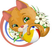 Playful kitten. Kitten who embraces a ball vector illustration