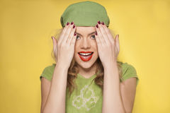 Playful laughing stylish young woman Royalty Free Stock Photo