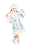 Playful little girl. Posing in snow maiden costume. Isolated on white Stock Photography
