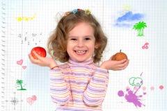 Playful little schoolgirl stock image