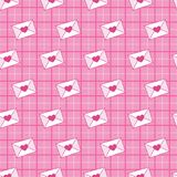 Pink love letter in square background. A playful, modern, and flexible pattern for brand who has cute and fun style. Repeated pattern. Happy, bright, and magical Stock Photography