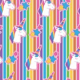 Vibrant edgy unicorn head in rainbow background. A playful, modern, and flexible pattern for brand who has cute and fun style. Repeated pattern. Happy, bright Royalty Free Stock Image
