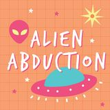 Alien abduction print poster stock illustration