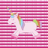 Believe in us unicorn stripe pink. A playful, modern, and flexible print for brand who has cute and fun style. Happy, bright, and magical mood vector illustration