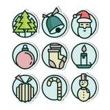 Christmas Vinyl Sticker Icon. Playful, modern, sleek and colorful Christmas Vinyl Sticker Icon set Stock Photography