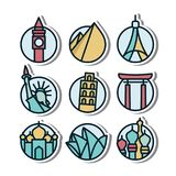 Landmark vynil sticker icon. Playful, modern, sleek, sophisticated and colorful Landmark vynil sticker icon vector illustration