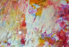 Playful paint gold orange pink pastel forms, abstract pastel hues. Playful watercolor painting violet red orange yellow white blue forms and paint spots in stock photos