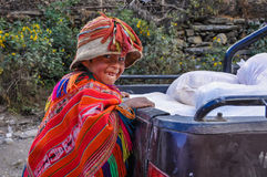 Playful Quechua boy in a village in the Andes, Ollantaytambo, Pe Stock Photography