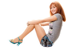 Playful red-haired young woman Stock Image