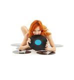 Playful redhead with vinyl rec. Ords over white Stock Photo