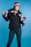 Playful Scarf Girl Stock Image