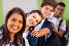Playful school students. Group of playful high school students close up royalty free stock images
