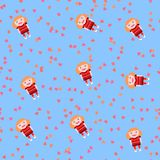 Playful seamless pattern with cute doll and pink hearts on baby blue Royalty Free Stock Photo