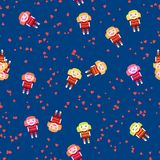Playful seamless pattern with cute doll and red hearts on cobalt blue Stock Image