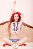 Playful seductive  young redhead woman in lotus Royalty Free Stock Photography