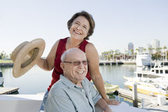 Playful Senior Couple On Vacation Stock Photos