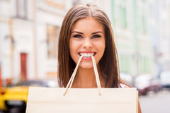 Playful shopaholic. Stock Images