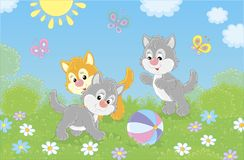 Funny little kittens playing with a ball stock illustration