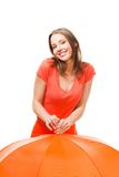 Playful smile girl with umbrella Royalty Free Stock Photography
