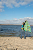 Playful smiling woman having fun, playing with a veil, coverlet Royalty Free Stock Images