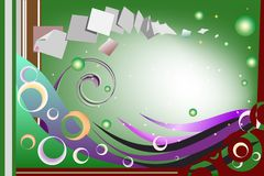 Playful sparkling card. With abstract colorful elements and floating papers indicating the flow of thoughts that crosses the mind of someone composing a sincere Royalty Free Stock Image