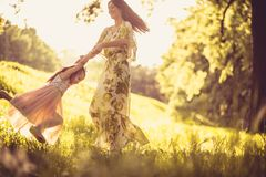 Playful in spring season. Family time. Beauty in nature stock photo