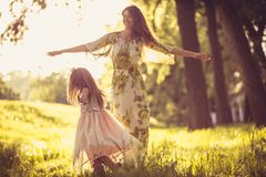 Playful in spring season. Family time. Beauty in nature royalty free stock image