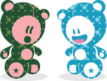 Playful teddy bears design. Colorful art design of teddy bears Stock Photo