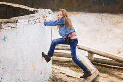 Playful teenage girl portrait Stock Photos
