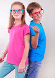 Playful twin brother and sister have fun Stock Photo