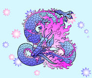 Playful violet Asian dragon on star. Playful glamorous violet with pink space Asian chinese dragon on star background. Vector illustration Royalty Free Stock Photography
