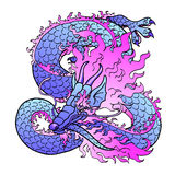 Playful violet Asian dragon on white. Playful glamorous violet with pink space Asian chinese dragon isolated on white background. Vector illustration Royalty Free Stock Photos
