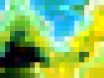 Playful vivid yellow blue geometries, abstract background, graphics, abstract background and texture. Vivid blurred colors, playful yellow blue geometries vector illustration