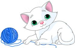 Playful White Kitten stock illustration