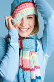 Playful Winter Girl Stock Photos