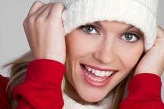 Playful Winter Woman Stock Images