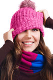Playful Winter Woman Royalty Free Stock Images