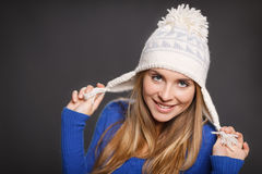 Playful winter woman Stock Photo