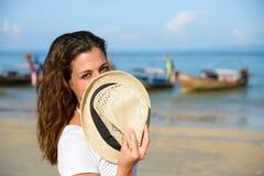 Playful woman enjoying Thailand travel at beach Royalty Free Stock Photos