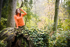 Playful Woman In Forest Stock Photography